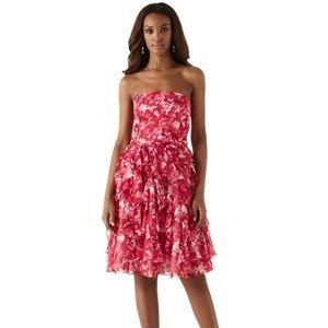 WHBM Red Floral Strapless Ruffle Chiffon Dress 12